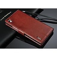 お買い得  携帯電話ケース-ケース 用途 HTC HTCケース カードホルダー ウォレット スタンド付き フリップ 純色 ハード のために