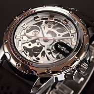 abordables Winner-WINNER Hombre Reloj de Pulsera / El reloj mecánico Huecograbado Silicona Banda Lujo Negro / Cuerda Automática