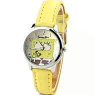 preiswerte Zeichentrickuhren-Modeuhr Quartz PU Band Analog Zeichentrick Gelb