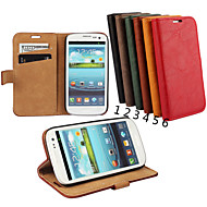 cheap Cases / Covers for Samsung-Case For Samsung Galaxy Samsung Galaxy Case Card Holder Wallet with Stand Flip Full Body Cases Solid Color Genuine Leather for S3