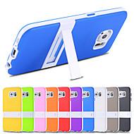 economico Custodie / cover per Samsung-Custodia Per Samsung Galaxy Samsung Galaxy Custodia Con supporto Per retro Tinta unica TPU per S6 edge S6