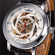 WINNER Hombre Reloj de Pulsera El reloj mecánico Cuerda Automática Huecograbado PU Banda Negro Blanco Negro