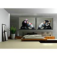 billiga -HANDMÅLAD Djur Pop Horisontell,Klassisk Traditionellt Två paneler Hang målad oljemålning For Hem-dekoration