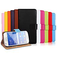お買い得  携帯電話ケース-ケース 用途 Samsung Galaxy Samsung Galaxy ケース カードホルダー ウォレット スタンド付き フリップ フルボディーケース 純色 PUレザー のために Ace Style LTE