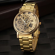 Men's Wrist Watch Quartz Stainless Steel Gold Hollow Engraving Analog Charm - Golden