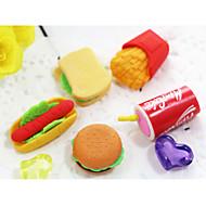 Hamburger Cola Potato Chips Fast Food Topic Character Rubber Eraser (Random Color)