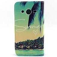 Недорогие Galaxy Core 2-Для Кейс для  Samsung Galaxy Кошелек / Бумажник для карт / со стендом / Флип Кейс для Чехол Кейс для дерево Искусственная кожа Samsung