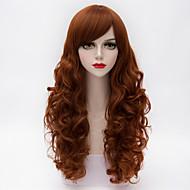 Недорогие Парики из искусственных волос-мода долго слоистые естественные волнистые волосы сторона взрыва оранжевый&коричневый синтетический европейская Лолита парик женщин