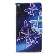 Varten Samsung Galaxy kotelo Korttikotelo / Lomapkko / Tuella / Flip Etui Kokonaan peittävä Etui Perhonen Tekonahka SamsungJ5 / J1 /