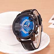 저렴한 -Oulm 남성용 스포츠 시계 손목 시계 석영 스포츠 시계 PU 밴드 블랙 브라운