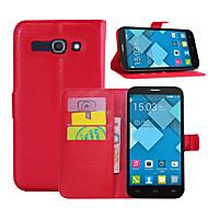 お買い得  携帯電話ケース-ケース 用途 Alcatel Alcatelケース カードホルダー ウォレット スタンド付き フリップ フルボディーケース 純色 ハード PUレザー のために