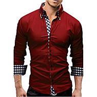 남성용 솔리드 스프레드 카라 슬림 셔츠, 사업 면 / 긴 소매 / 봄 / 가을 / 작동