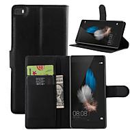 olcso Mobiltelefon tokok-Teljes test pénztárca / Tárcatok / állvánnyal Tömör szín Műbőr Kemény Tok HuaweiHuawei P8 / Huawei P8 Lite / Huawei P7 / Huawei Y550 /