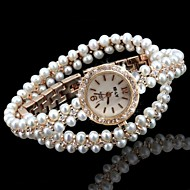 cheap Jewelry & Watches-Women's Fashion Watch Bracelet Watch Unique Creative Watch Quartz Imitation Diamond Alloy Band Analog Sparkle Bohemian Pearls Gold - White