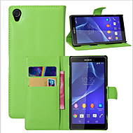 お買い得  携帯電話ケース-ケース 用途 ソニーのXperia Z2 / その他 / Sony Sonyケース ウォレット / カードホルダー / スタンド付き フルボディーケース ソリッド ハード PUレザー のために Sony Xperia Z2 / Other / Sony