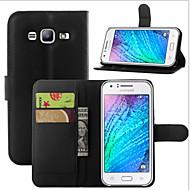 お買い得  携帯電話ケース-ケース 用途 Samsung Galaxy Samsung Galaxy ケース カードホルダー ウォレット スタンド付き フリップ フルボディーケース 純色 PUレザー のために J7 (2016) J7 J5 (2016) J5 J3 J2 J1 Mini J1 Ace