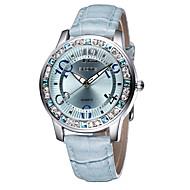 SKONE Damen Modeuhr Armbanduhren für den Alltag Simultan? Diamant Uhr Quartz Wasserdicht Imitation Diamant Leder Band Weiß Blau Rot Rosa