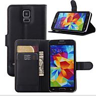 Недорогие Чехлы и кейсы для Galaxy S6 Edge Plus-Кейс для Назначение SSamsung Galaxy Кейс для  Samsung Galaxy Бумажник для карт / Кошелек / со стендом Чехол Однотонный Кожа PU для S7