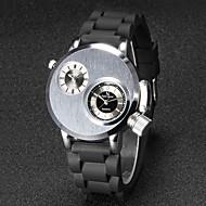 preiswerte -V6 Herrn Armbanduhr Einzigartige kreative Uhr Quartz Japanischer Quartz Duale Zeitzonen Caucho Band Schwarz