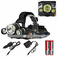 Headlamps Cap Lights LED Light Bulbs Headlight LED 6000 lm 1 Mode Cree XM-L T6 Rechargeable Waterproof Super Light Zoomable 2x18650 for Outdoor Sports