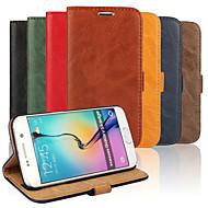 お買い得  -ケース 用途 Samsung Galaxy Samsung Galaxy ケース カードホルダー スタンド付き フリップ フルボディーケース 純色 PUレザー のために S6 edge S6 S5 S4 S3