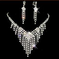 preiswerte -Schmuckset Niedlich Party Kubikzirkonia versilbert Diamantimitate Aleación Halskette Ohrringe