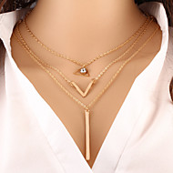 Wholesale Women Necklace European Style Triangle V Shape Layered Chain Necklace