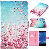 Недорогие Чехлы и кейсы для Galaxy Tab A 9.7-Кейс для Назначение SSamsung Galaxy / Вкладка 8,0 / Вкладка 9,7 Кейс для  Samsung Galaxy Кошелек / Бумажник для карт / со стендом Чехол Цветы Кожа PU для Tab 4 10.1 / Tab 4 7.0