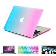 """お買い得  MacBook 用ケース/バッグ/スリーブ-1虹色鮮やかなゴム引きハードケース+ MacBook Airの11「プロ13 """"/ 15""""用のキーボードカバー+スクリーンプロテクター+ダストプラグ4"""