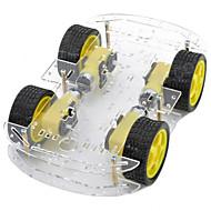 abordables Piezas de Bricolaje y Manualidades-de doble capa 4-motor chasis del automóvil inteligente w medición codificado disco / velocidad - negro + amarillo