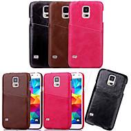 お買い得  Samsung 用 ケース/カバー-ケース 用途 Samsung Galaxy Samsung Galaxy ケース カードホルダー バックカバー 純色 PUレザー のために S5 Mini S5 S4