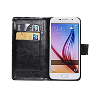 billige Etuier til Samsung-For Samsung Galaxy etui Kortholder Med stativ Flip Etui Heldækkende Etui Helfarve Kunstlæder for SamsungS6 edge plus S6 Active S5 Active