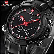 Недорогие Фирменные часы-NAVIFORCE Муж. Наручные часы Защита от влаги / LED Нержавеющая сталь Группа Роскошь Черный / Maxell2025 / Два года
