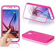 Недорогие Чехлы и кейсы для Galaxy S-Для Кейс для  Samsung Galaxy с окошком / Флип / Прозрачный Кейс для Чехол Кейс для Один цвет Силикон Samsung S6