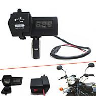 Недорогие Запчасти для мотоциклов и квадроциклов-12V-24V водонепроницаемый мотоциклы Dual USB зарядное устройство со светодиодным цифровым вольтметром handbar монтажа