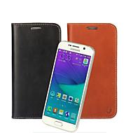 Для Кейс для  Samsung Galaxy Кошелек / Бумажник для карт / со стендом / Флип Кейс для Чехол Кейс для Один цвет Натуральная кожа Samsung S6