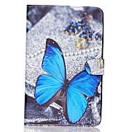 Недорогие Чехлы и кейсы для Galaxy Tab E 9.6-Кейс для Назначение SSamsung Galaxy Кейс для  Samsung Galaxy Бумажник для карт Кошелек со стендом Флип С узором Чехол Бабочка Кожа PU для