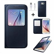 billige Etuier til Samsung-For Med vindue Auto Sluk Flip Etui Heldækkende Etui Helfarve Hårdt Kunstlæder for Samsung S6 edge plus S6