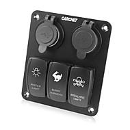 Недорогие Выключатели-водонепроницаемый 3 банды под руководством тумблер& 4 USB панель розетки для морских / лодки / Стоянки 12v