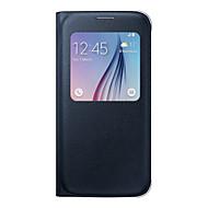 Недорогие Чехлы и кейсы для Galaxy S7-Кейс для Назначение SSamsung Galaxy Samsung Galaxy S7 Edge с окошком / Флип Чехол Однотонный Мягкий Кожа PU для S8 Plus / S8 / S7 edge