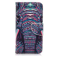 billige Galaxy S7 Edge Etuier-Etui Til Samsung Galaxy Samsung Galaxy S7 Edge Kortholder Pung Med stativ Flip Fuldt etui Elefant PU Læder for S7 edge S7