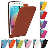お買い得  Samsung 用 ケース/カバー-ケース 用途 Samsung Galaxy Samsung Galaxy ケース フリップ フルボディーケース 純色 本革 のために S6 edge plus S6 edge S6