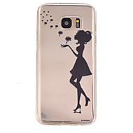 Для Samsung Galaxy S7 Edge Полупрозрачный / Рельефный Кейс для Задняя крышка Кейс для Соблазнительная девушка TPU SamsungS7 Active / S7