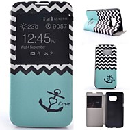 Для Samsung Galaxy S7 Edge со стендом / с окошком / Флип Кейс для Чехол Кейс для Якорь Искусственная кожа Samsung S7 plus / S7 edge / S7