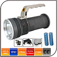 cheap Flashlights, Lanterns & Lights-LED Flashlights / Torch LED 1000 lm 3 Mode - with Batteries and Charger Zoomable Impact Resistant Rechargeable Waterproof
