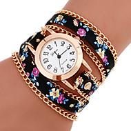 cheap Fashion Watches-Women's Bracelet Watch Fashion Watch Quartz Casual Watch PU Band Flower Bohemian Multi-Colored
