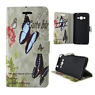 Недорогие Чехлы и кейсы для Galaxy А-Кейс для Назначение SSamsung Galaxy Кейс для  Samsung Galaxy Бумажник для карт со стендом Флип Магнитный С узором Чехол Бабочка Кожа PU