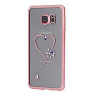Назначение Samsung Galaxy S7 Edge Чехлы панели Стразы Покрытие Прозрачный С узором Задняя крышка Кейс для С сердцем Термопластик для