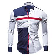 Herrn Einfarbig Übergrössen Baumwolle Hemd, Kentkragen Schlank Patchwork Blau & Weiß Weiß L / Langarm / Frühling / Herbst