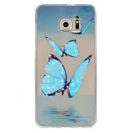 Для Samsung Galaxy S7 Edge Ультратонкий / Рельефный Кейс для Задняя крышка Кейс для Бабочка TPU SamsungS7 Active / S7 plus / S7 edge plus